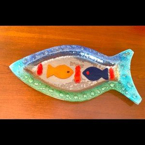 Handpainted colorful glass serving plate fish